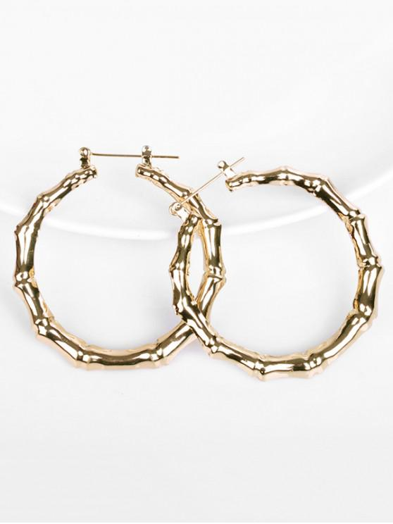 unique Bamboo Design Hoop Metal Earrings - GOLD