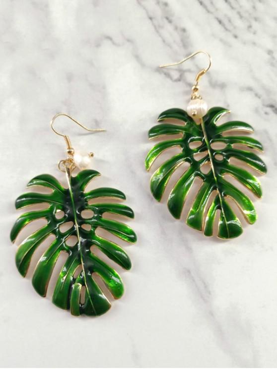 fancy Hollow Leaf Design Hook Metal Earrings - GREEN
