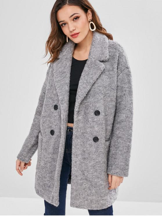 ladies Lapel Wool Blend Peacoat - LIGHT GRAY M