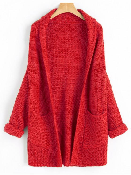 Curled Sleeve Batwing Open Front Cardigan - Rojo Lava Talla única