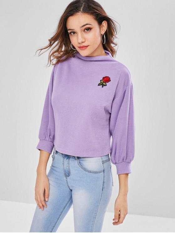 ZAFUL Sweat-shirt Patch Rose Brodée à Manches Lanternes - Mauve Taille Unique
