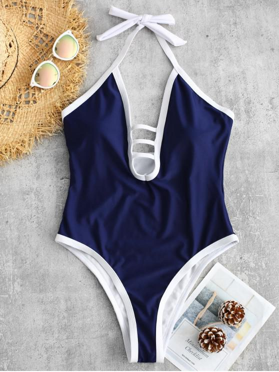shops ZAFUL Strappy Halter One Piece Swimsuit - LAPIS BLUE M