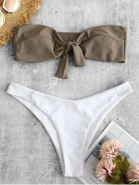 hot ZAFUL Front Knot Bandeau Bikini Set - DARK KHAKI L