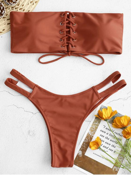 womens ZAFUL Lace-up Strapless Bikini Set - CHESTNUT L