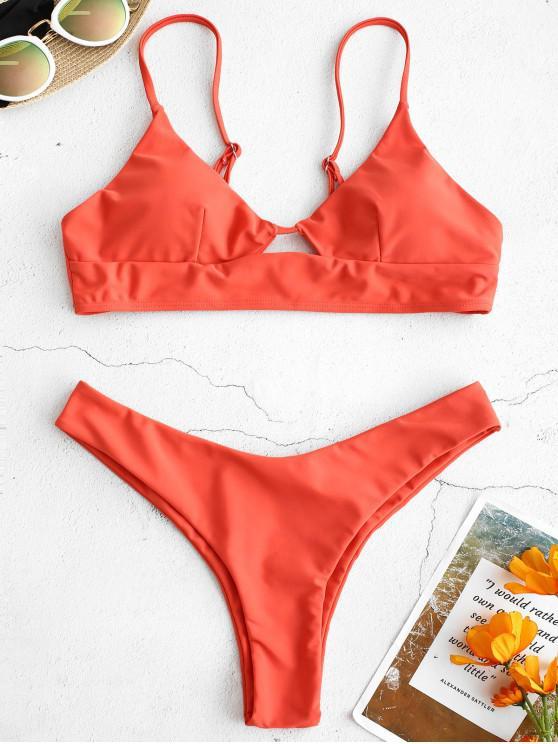 chic ZAFUL Adjusted Strap Low Waist Bikini Set - SUNRISE ORANGE S