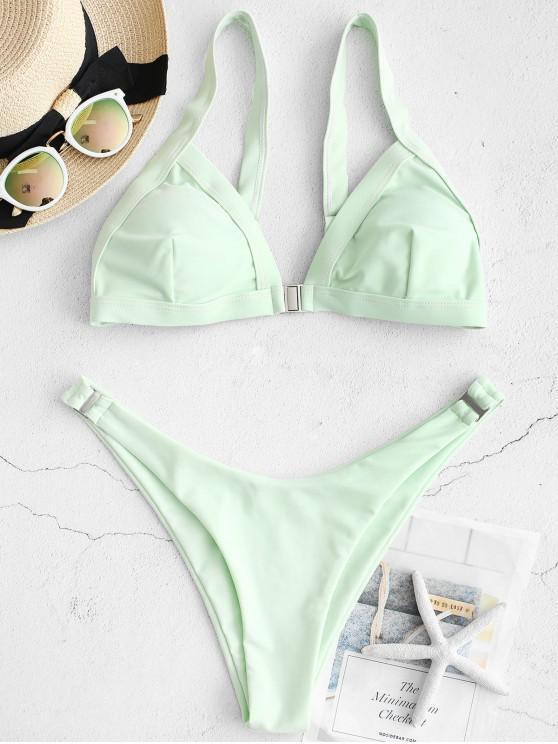 hot ZAFUL Plunging Low Waist Bikini Set - MINT GREEN L