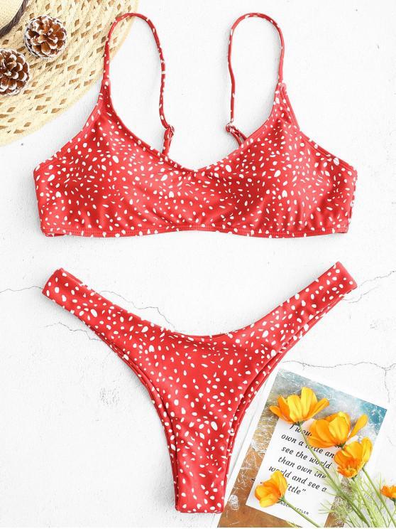 buy ZAFUL Dots Print Thong Bikini Set - LAVA RED L