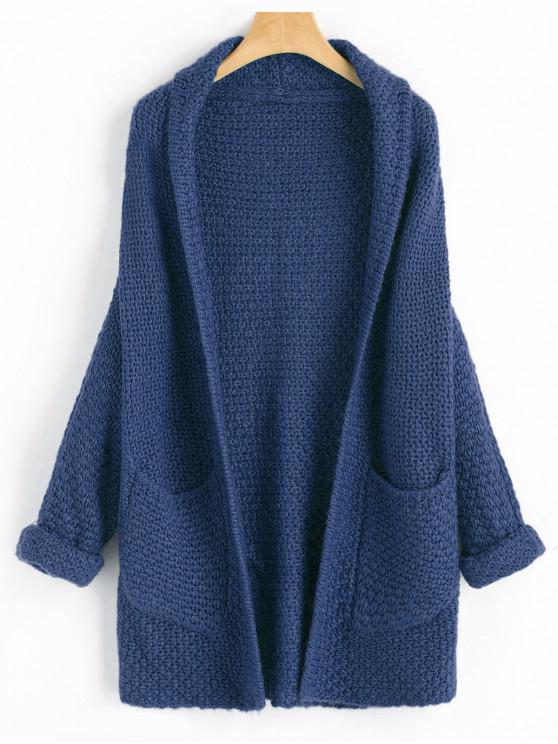 lady Curled Sleeve Batwing Open Front Cardigan - CADETBLUE ONE SIZE