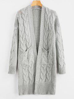Cable Knit Cardigan With Pockets - Light Gray