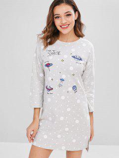 Robe De Pyjama Fendue Avec Des Lettres à Pois - Gris Clair Xl