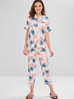 Pijamas Con Estampado De Piña Satinada - Multicolor Xl