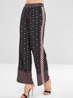 High Rise Printed Wide Leg Palazzo Pants - Black L