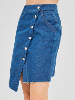 Crossover Button Through Mini Denim Skirt - Blue L