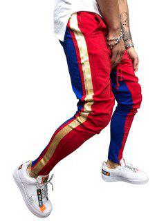 Stripe Color Block Jogger Pants - Lava Red 2xl