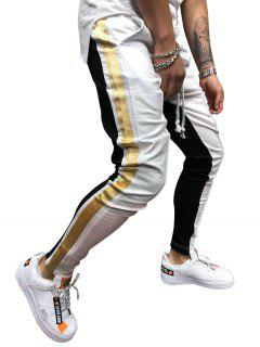 Stripe Color Block Jogger Pants - White Xl