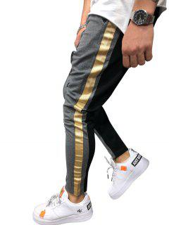 Stripe Color Block Jogger Pants - Battleship Gray L