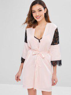 Lace Insert Slit Sleep Dress With Robe - Light Pink L