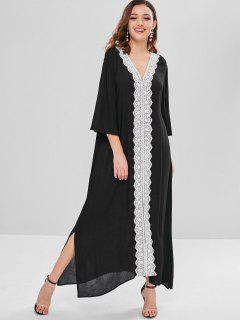 Lace Applique Maxi Dress - Black M