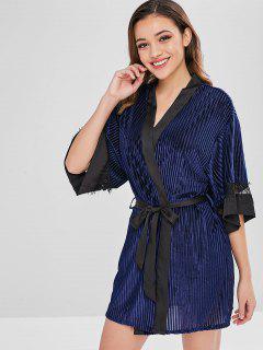 Vestido De Pijama Con Aplicación De Encaje De Terciopelo Y Túnica - Cadetblue L