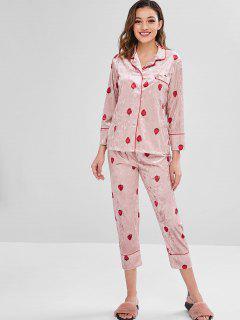 Ensemble De Pyjama Velours Et Poche à La Fraise - Rose Léger  Xl