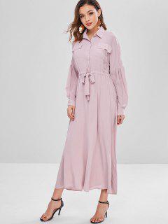Vestido Maxi Camisa De Lazo De La Cintura - Rosado L