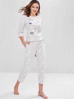 Ensemble Pyjama Haut à Bas Et Pantalon à Pois - Gris Argenté Xl