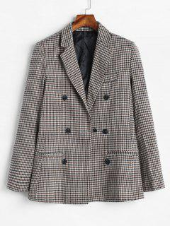 Gingham Double Breasted Tweed Blazer - Multi L