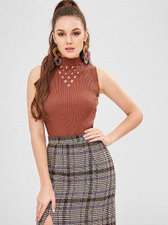 Ribbed Perforated Sleeveless Sweater - Chestnut