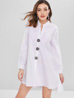 Contrasting Buttons Tunic Shirt Dress - White M