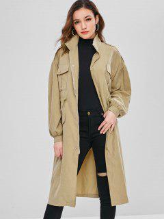 Drawstring Zip Coat With Pocket - Light Khaki Xl
