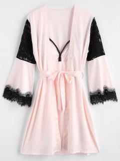 Vestido De Pijama Con Abertura De Encaje Y Bata - Cerdo Rosa L