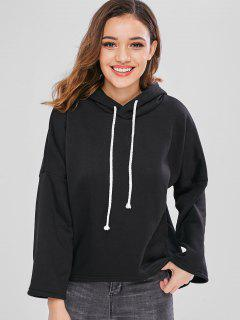 Drop Shoulder High Low Fleece Hoodie - Black Xl