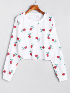 Drop Shoulder Floral Sweatshirt - White M