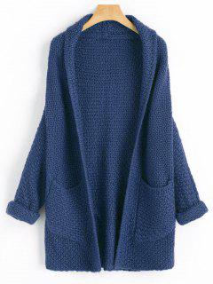 Curled Sleeve Batwing Open Front Cardigan - Cadetblue