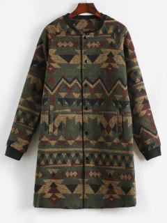 Triangle Pattern Button Up Long Woolen Coat - Army Green Xs