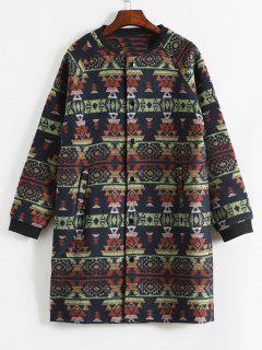 Geometric Pattern Button Up Woolen Coat - Cadetblue M