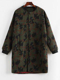 Manteau Motif De Camouflage Boutonné En Laine - Acu Camouflage Xs