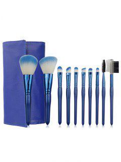 Professional 10 Pcs Blue Handle Soft Hair Travel Makeup Brush Set With Brush Bag - Blue