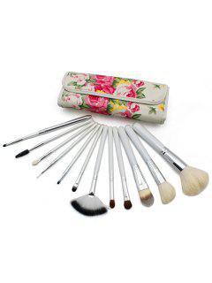 12 Pcs Soft Hair Travel Makeup Brush Set With Floral Brush Bag - White