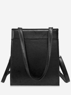 Magnet Hook PU Design  Shoulder Bag - Black