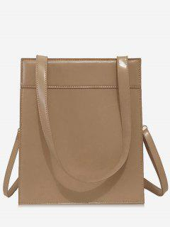 Magnet Hook PU Design  Shoulder Bag - Light Khaki