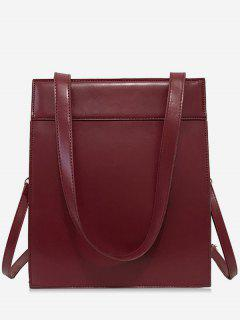 Magnet Hook PU Design  Shoulder Bag - Red Wine