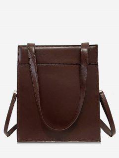 Magnet Hook PU Design  Shoulder Bag - Brown