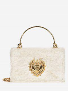 Heart Shape Rhinestone Fluffy Crossbody Bag - White