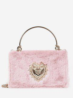Heart Shape Rhinestone Fluffy Crossbody Bag - Pink