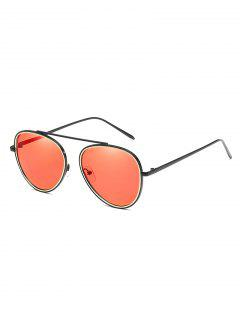 Unique Crossbar Metal Frame Pilot Sunglasses - Chestnut Red