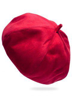 Vintage Solid Color Suede Beret - Red