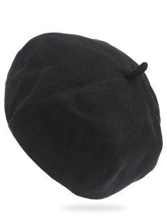 Vintage Solid Color Suede Beret - Black