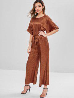 ZAFUL Plain Belted Wide Leg Jumpsuit - Light Brown S