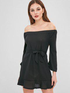 Mini Robe Pull à Epaule Dénudée - Noir L